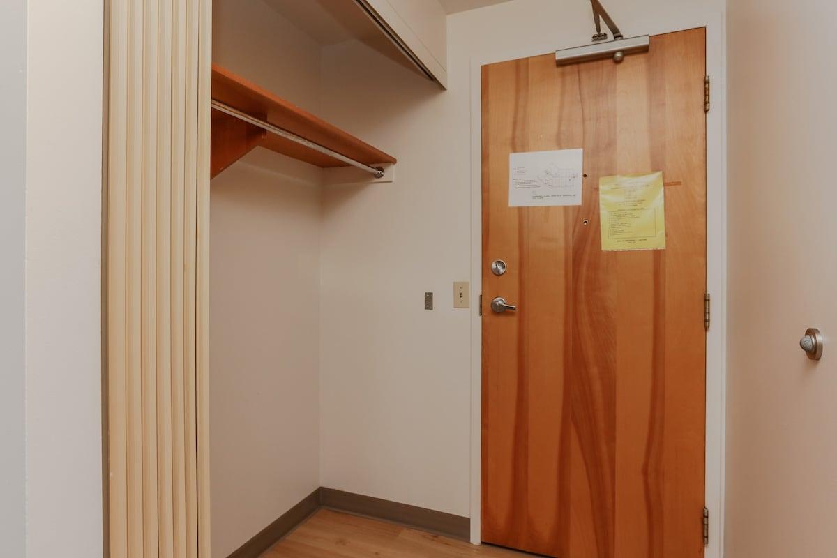 One bedroom suite front closet