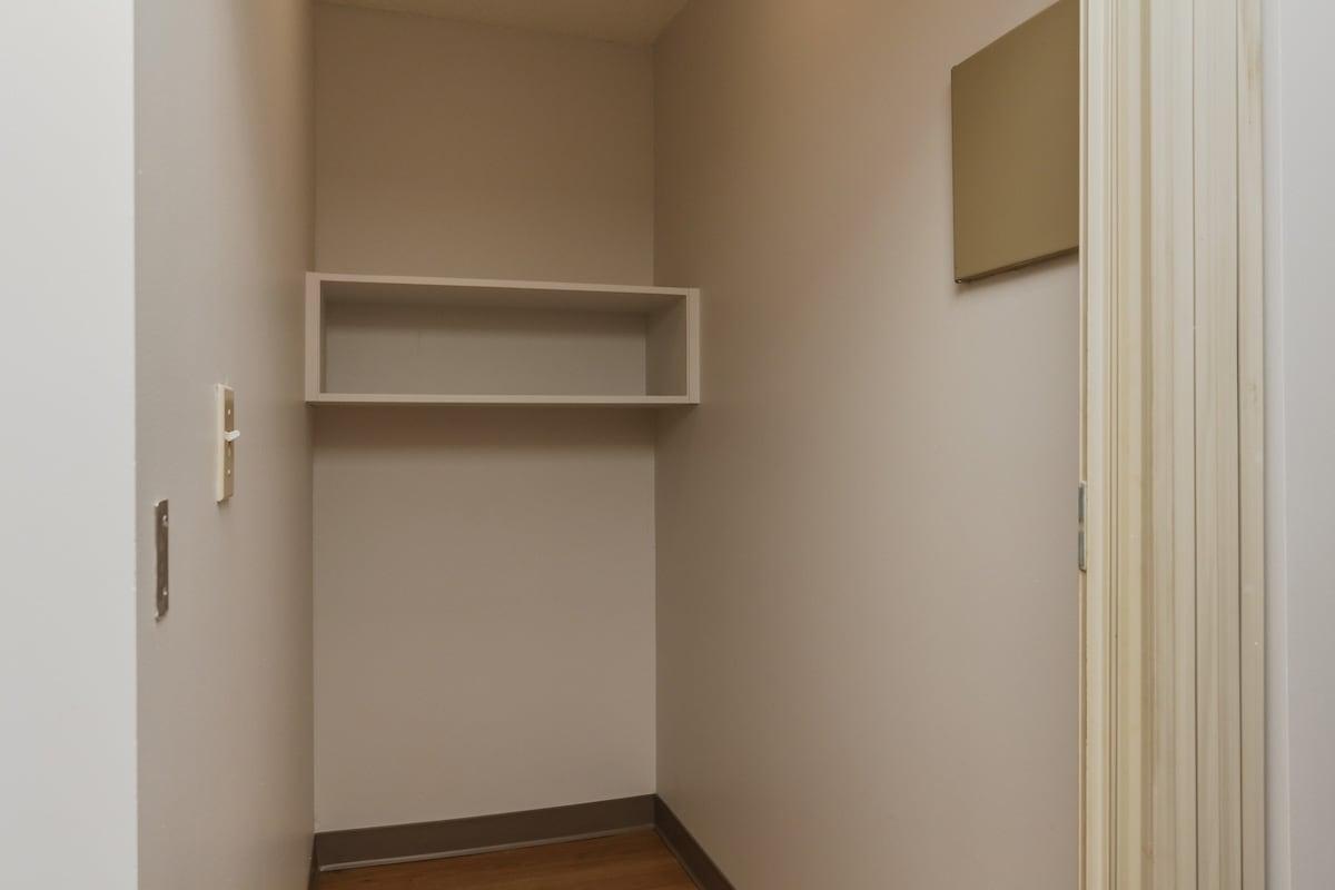 One bedroom suite storage closet